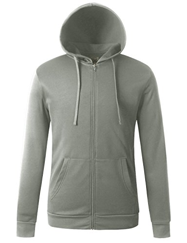 - Regna X for Mens Front Zip Hooded Lined Lining Light Grey Medium Fleece Jackets