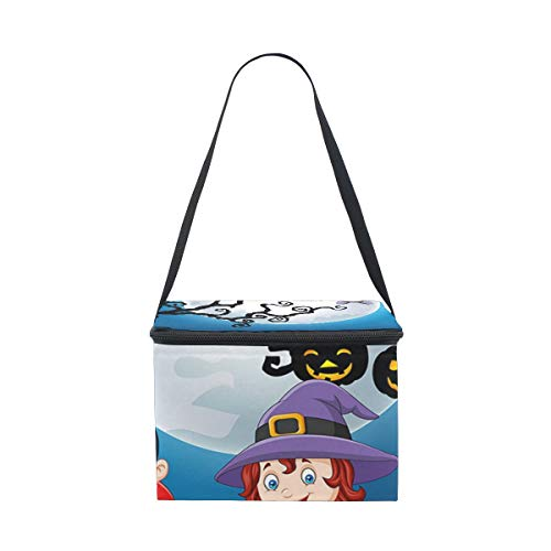 Cartoon Kids with Halloween Costume Holding Pumpki Insulated Lunch Box Bag Cooler Reusable Tote Bag Meal Prep Handbag for Adult Men Women Kids Girls Boys