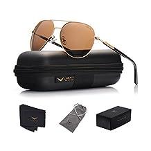 LUENX Mens Womens Aviator Sunglasses Polarized with Case - UV 400 Protection 60mm