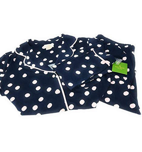 Kate Spade Dream A Little Dream Pajama Long Sleeve Top & Pant Set,Navy/Pink Dot (X-Small) (Kate Spade Dream A Little Dream Pajamas)