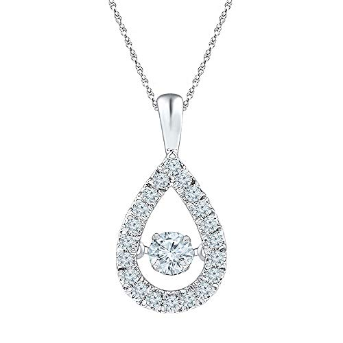 The Diamond Deal 10kt White Gold Womens Round Diamond Moving Twinkle Solitaire Teardrop Pendant 3/8 Cttw