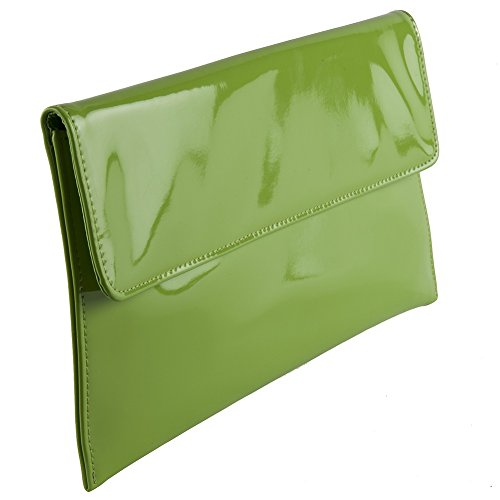 Borsa Clutch, Rossella Verde, In Ecopelle