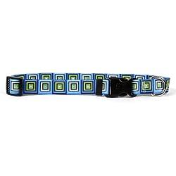 "Yellow Dog Design Blue Blocks Dog Collar Fits Neck 14 to 20"", Medium 1"" Wide"