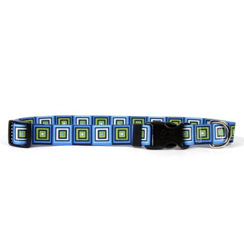 Yellow Dog Design Blue Blocks Dog Collar 3/8″ Wide and Fits Neck 4 to 9″