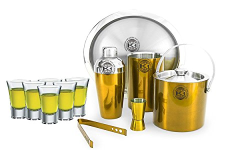 King International 100% Stainless Steel Bar Set | Bar Tools | Bar Accessories Set Of 12 Pieces Includes 6 Shot Glasses | Ice Bucket | Tong |Cocktail Shaker | Peg Measurer | Wine Cooler | Bar Tray by King International