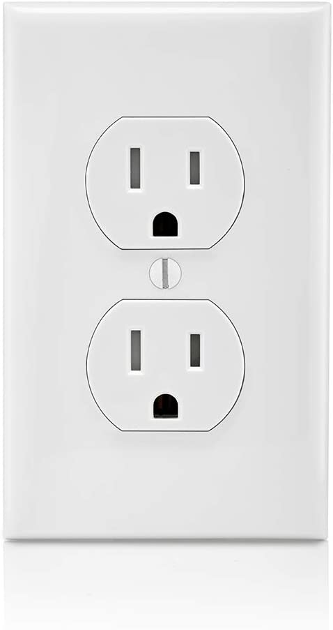 Leviton T5320-W Straight Blade Tamper Resistant Duplex Receptacle, 125 V, 15 A, 2 Pole, 3 Wire, 1 Pack, White - Electrical Outlets -