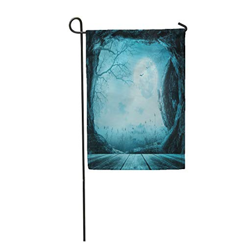 Semtomn Garden Flag 12x18 Inches Print On Two Side Polyester Blue Easter Halloween Wooden Table with Empty Tomb Stone at Spooky Night 3D Home Yard Farm Fade Resistant Outdoor House -
