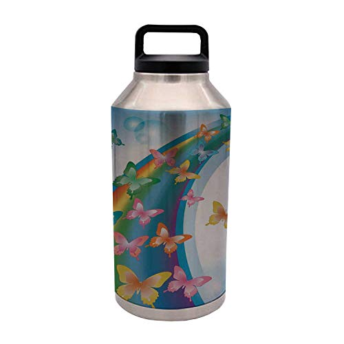 Butterflies Durable 64OZ Stainless Steel Bottle,Colorful Background with Rainbow Butterflies Bubbles Fairy Cheerful Graphic Print Decorative for Home Travel Office,4