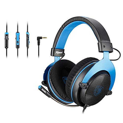 [Upgraded Version]SADES MPOWER 3.5mm Gaming Headset, Over-Ear Headphones With Retractable Mic, Noise Cancelling, Soft Memory Earmuffs for PC, Smart Phones, Tablet, Laptops, Nintendo Switch, PS4