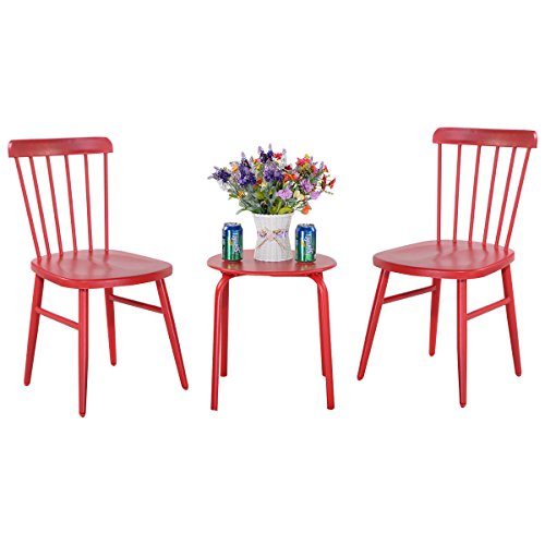 Alek...Shop 3 Pcs. Steel Red Dining Patio Table Chairs Furniture Sets Bistro Garden Lawn Pool Side by Alek...Shop