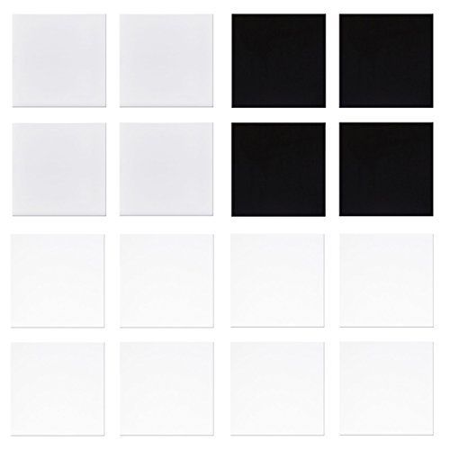 1'' Pre-Cut Square Black, White and Tekta, 90 COE, 16 Pieces - Made From Bullseye Glass - The Essential Fusible Glass Sampler Pack by New Hampshire Craftworks