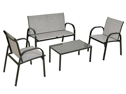 Set of 4 Patio Furniture Set Sofa Coffee Table Steel Frame Garden Outdoor Deck Grey New #629B (Zealand Plastic Furniture Outdoor New)
