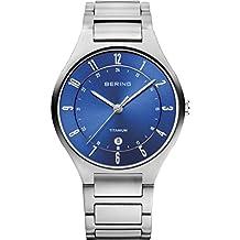Bering Men's 39mm Silver-Tone Titanium Bracelet & Case Sapphire Crystal Quartz Blue Dial Watch 11739-707