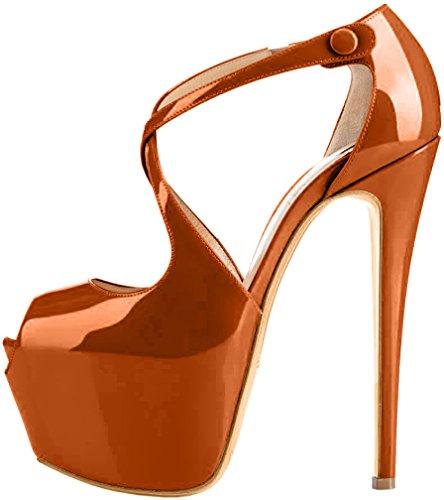 Sintético vestir aguja de Tacón 46 EU 16CM tamaño Marrón Sandalias Mujer 34 Trucrack Trusify de 16cm UWpg4PP