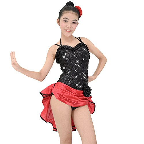 [MiDee Dance Costume Latin Dress For Women Sweetheart Camisole Sequins (SA, Black)] (Dance Costumes For Hip Hop Competitions)