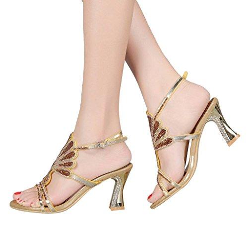 Sandalias con de YooPrettyz Talones Vidrio Sandalias Vestido para dorado1 Sandalias Mujer y el para Tobillo Abierto Talón Zapatos para tqYqfx