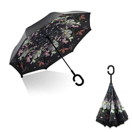 C Shape Handle Double Layer Umbrella Anti-UV Folding Inverted Upside Down Reverse Windproof Flower Car Travel ()
