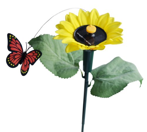 Sunflower Stake (Solaration174; 7007 Fluttering Butterfly w./Sunflower Solar Garden Yard Stake)