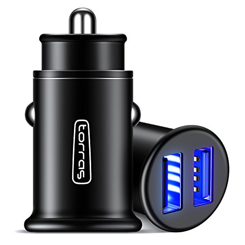 TORRAS All Metal Car Charger, Flush Fit 4.8A Fast Dual USB Car Charger Adapter Compatible with iPhone Xs/Xs Max/XR/X / 8/7 / Plus / 6, Galaxy S10 / S9 / S8 and All 5V USB Devices, Black]()