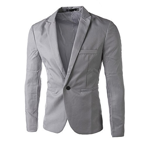 TANGSen Charm Men's Blazer Casual Slim Fit Solid One Button Suit Long Sleeve Blazer Stylish Coat Jacket Tops Gray