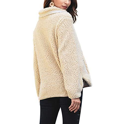 Femme Et Col Manche Coton Section Moyenne Beige Longue Haut Peluche Veste À De Glissière Manteau FKucJTl13