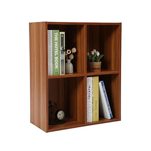 Homebi 4-Cube Bookshelf DIY Bookcase Wood Storage Cabinet Freestanding Organizer Display Shelving Unit for Bedroom,Living Room,Study Room and Office,19.69