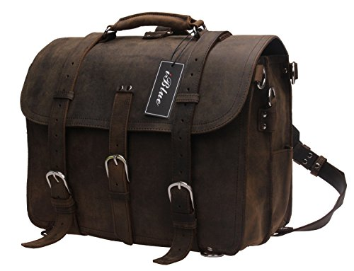 Iblue Vintage Real Genuine Leather Laptop Briefcase Backpack Large Travel Messenger Bag 16.5 In #B72 (L, dark brown)