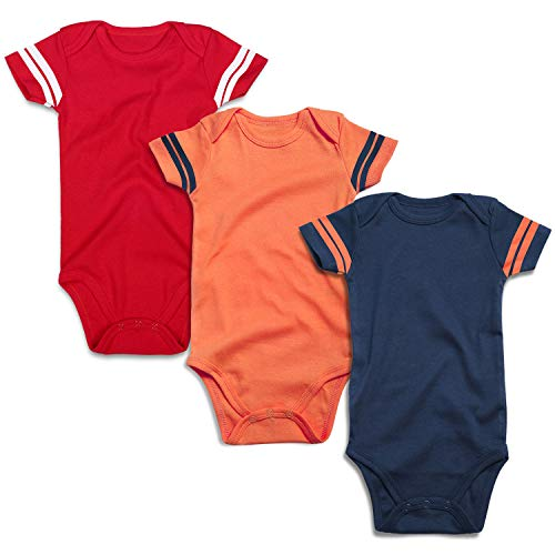- ROMPERINBOX Infant Solid Baby Football Sport Jersey Bodysuits 3 Pack 0-24 Months (12-18 Months, Sports Red Orange NavyShort Sleeve 3 Pack)