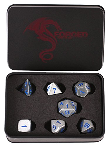 Forged Dice Co. Metal Battle Steel Silver with Blue Numbers Set of 7 Polyhedral Dice for RPG Gaming (Role Playing Game Figurines)
