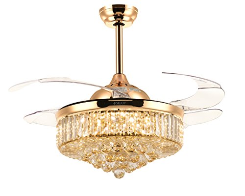 Siljoy 42 Inch Retractable Fan with Remote Control and Dimmable Light Invisible Chandelier Fans 3 Color Changing with Clear Crystals Gold Finish
