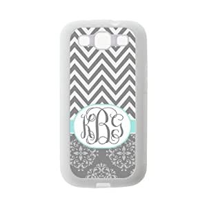 Gray Chevron Zigzags & Vintage European Pattern Damask Print Style Monogram Or Name Personalized Custom Best Rubber & Plastic Case for Samsung Galaxy s3 i9300 ,Black or White for Choice