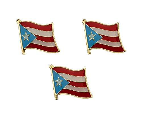 3 Pieces Puerto Rico Flag Lapel Pin 16mm x 19mm Hat Tie Tack Badge Pin ()