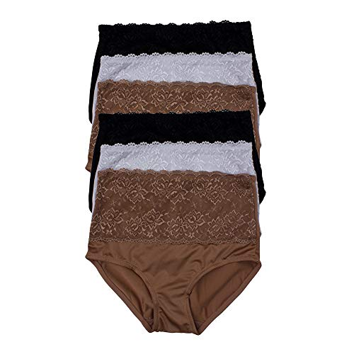 (Kathy Ireland Womens 6 Pack Lace Trim Elastic Waist Shaping Brief Panties Tan/White/Black Large)