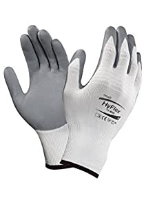 Ansell HyFlex 11-800 Nylon Glove, Gray Foam Nitrile Coating, Knit Wrist Cuff, Large, Size 9 (Pack of 12) by Ansell