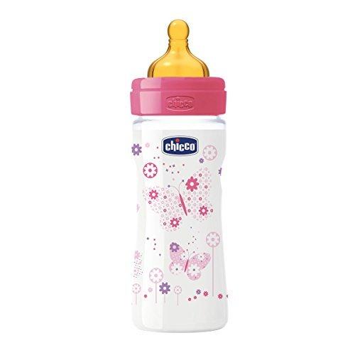 250 ml Biber/ón con tetina de l/átex y flujo medio para beb/é de 2m+ Chicco Wellbeing color rosa