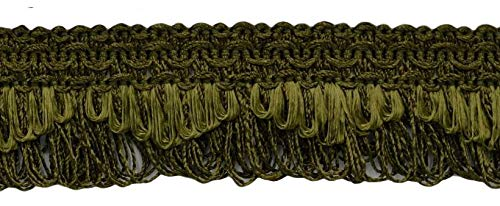 Decorative Khaki Green Scalloped Loop Fringe/Braid, 1 3/8 Inch, 12 Yard Value Pack, Style# 9115 Color: L50 (H3) (36 Ft / 11M)