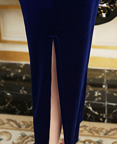 Schlitz Dunkelblau Elegant Art Velours Damen Kragen Cheongsam Chinesische ACVIP Lang zSWtfBHn