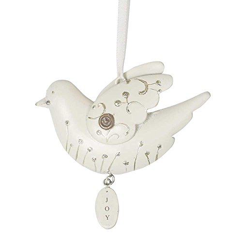 Joy White Dove Ivory with Glitter Accents 3.5 x 2.5 Resin Ornament Set of 6 -
