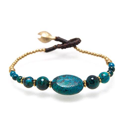 Natural Greenish Blue Chrysocolla Gemstone Brass Jingle Bells Beads Boho Beaded Bracelet 7