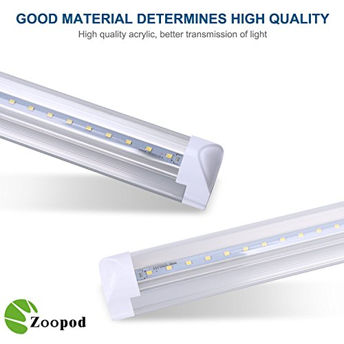 Zoopod-T8-LED-4FT-Tube-Light-18W-40W-50W-Equiv-Single-End-Powered-Shatterproof-T8-Fluorescent-Replacement-6500K-ClearMilky-Garage-Warehouse