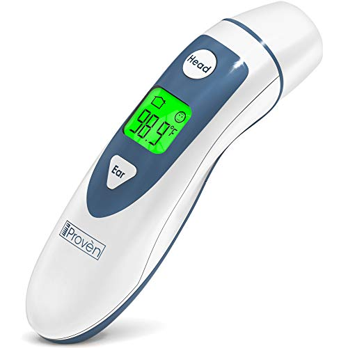 iProven Medical Digital Ear Thermometer with Temporal Forehead Function - Clinically Approved Upgraded Infrared Lens Technology DMT-489 for Better Accuracy - New Medical Algorithm (White Grey) (Ear Infrared Thermometer)