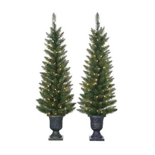 4' Green Cedar Pine Christmas Tree with 100 Clear Lights with Plastic Pot and Stand 4' Cedar Plug