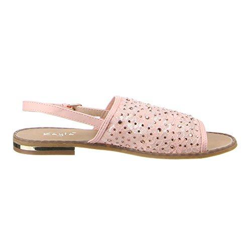 Ital-Design Damen Schuhe, F128-16, Sandalen Rosa