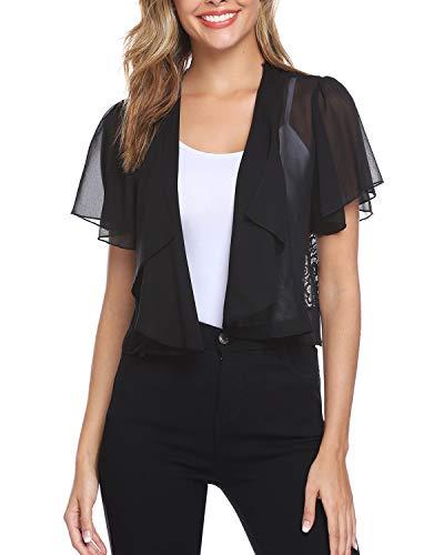 (Hawiton Women Shrug Short Sleeve Lace Bolero Jacket Open Front Cropped Cardigan)