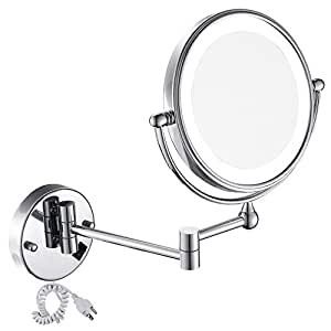 Gurun 8 inches led lighted wall mount makeup for Miroir double face