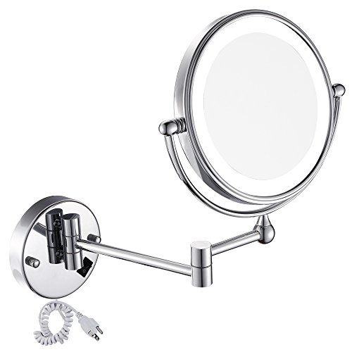 GURUN 8 Inches LED Lighted Wall Mount Makeup Mirror with 7x Magnification, Double Sided 360 Degree Swivel Chrome Finish (IBOSD,7x)