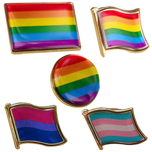 (Nanafast LGBT Rainbow Gay Lesbian Pride Lapel Hat Butterfly Clasp Pins 5)