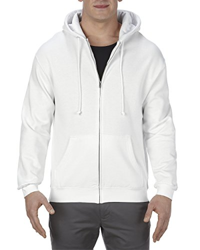 Zip Print Screen Sweatshirt Full (Alstyle Apparel AAA Men's Fleece Full Zip Hoodie, White, Large)