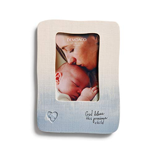 DEMDACO Blue God Bless This Precious Child 9.5 x 7 Stoneware with Linen Texture Picture Frame (Baby Frame God Boy)