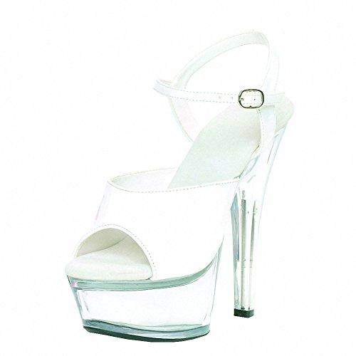 Ellie 601-JULIET-C Womens Sexy Comfortable 6 Heel Sandal W/Clear Bottom White on Clear dl1HLAaAU